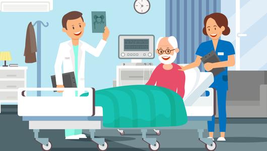 Alter Mann im Krankenhauszimmer, der sich im Krankenbett befindet. Arzt und Krankenschwester besuchen ihn.