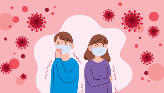2 Menschen mit Mund-Nasen-Schutz sind umgeben von Corona-Viren.