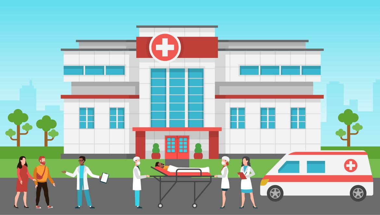 Hospital außen. Gesundheitszentrum. Notfalldienst, Krankenwagen, stationäre Patienten und Arzt.